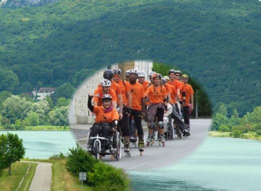 En route pour Evian-Genève-Lyon à Roller/Fauteuils roulants